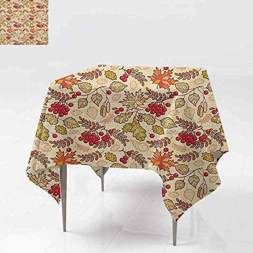 AndyTours Spill-Proof Table Cover,Rowan,Fall Season Themed Mixed Pattern with Maple Birch Oak Autumn Leaves and Ashberries,Party Decorations Table Cover Cloth,36x36 Inch ()