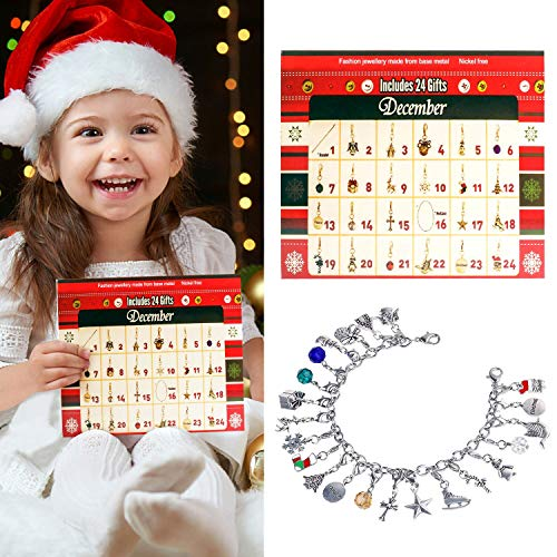 Christmas Advent Calendar for Kids,Aniwon Fashion Jewelry Advent Calendars DIY Charm Bracelet Necklace Children Christmas Gifts