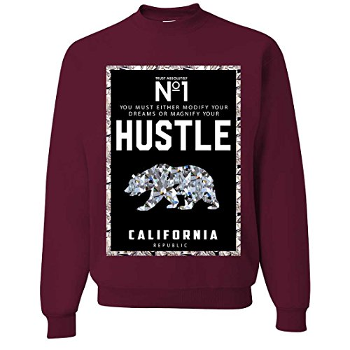 California Republic No. 1 Diamond Hustle Crewneck Sweatshirt - Maroon XX-Large