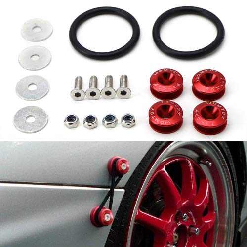 iJDMTOY Universal Fit Red Finish JDM Quick Release Fastener Kit For Car Bumper Trunk Fender Hatch ()