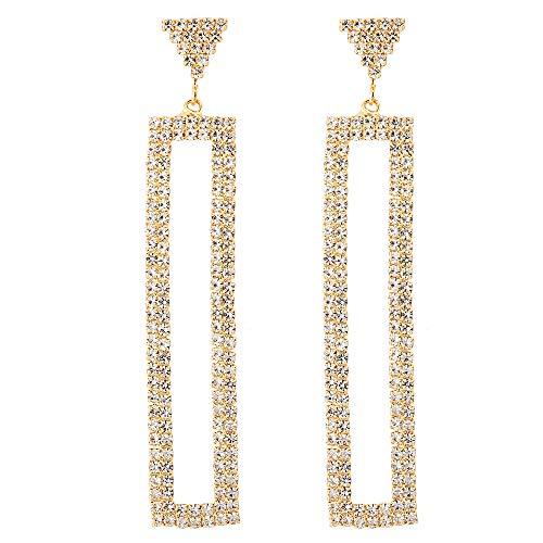 Earrings Rectangle Long - Rhinestone Cluster Geometric Triangle Rectangle Long Dangle Statement Stud Gold Earring, Prom