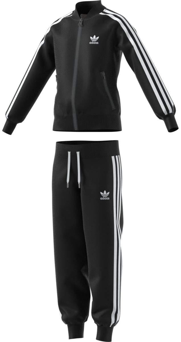 adidas Originals Outerwear Big Kids Superstar Track Suit, Black/White, Large
