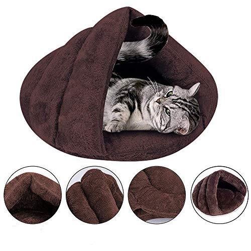 Cat Bed Soft Fleece Cat Sleeping Bag Shearling Bed Cave Cat Puppy Rabbit Small Animals Self-Warming Sleep Zone Tent Indoor Big Size