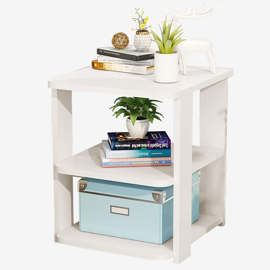 WDOPZMS Solid Wood Modern Style Sofa Side Table Small Space with Storage Coffee Table Living Room Bedroom Balcony Office End Table Easy to Assemble (Color : White) by WDOPZMS