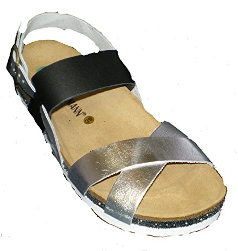 Dr. Brinkmann 710790-2 mujer sandalia plata / negro