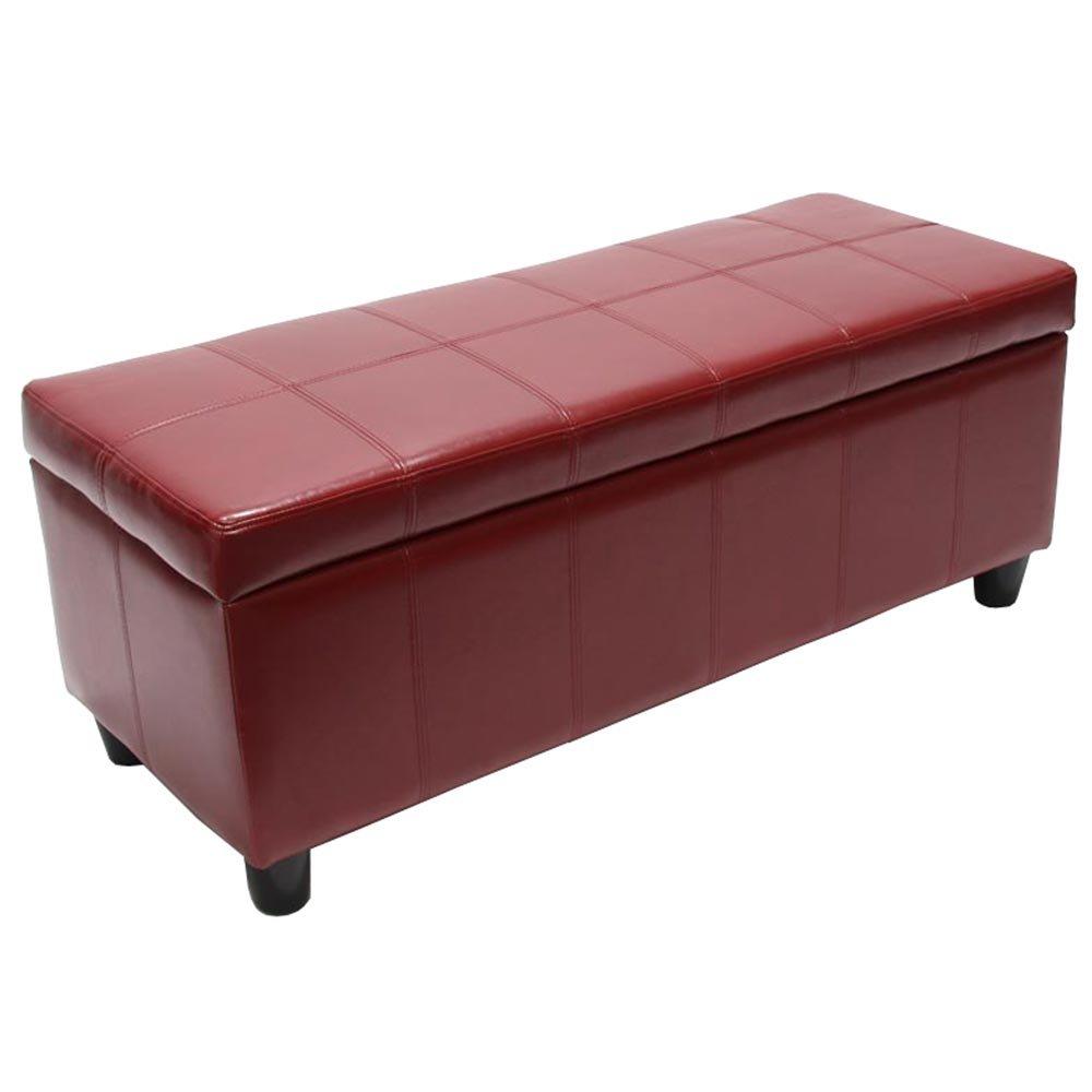 Panca contenitore Kriens pelle rivestita 112x45x45cm ~ rosso Mendler