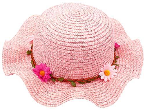 (Bienvenu Sun Straw Hat Kids Girls Large Wide Brim Travel Beach Beanie Cap,Pink)