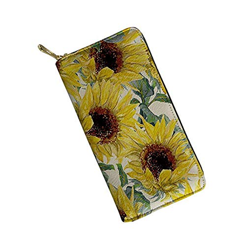 chaqlin Women Ladies Leather Wallet Long Style Purse with Coin Pocket Cartoon Deer Zip Around High Capacity Birthday,Festival,Memorial Day Sunflowers Pattern