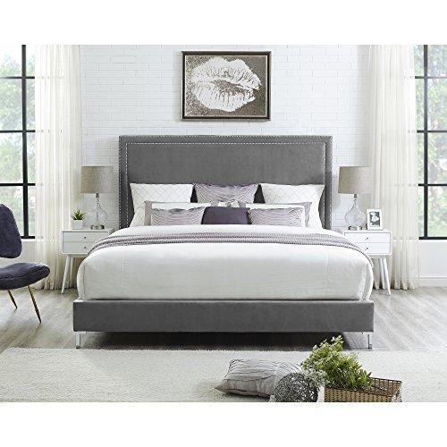 InspiredHome Grey Velvet Platform Bedframe - Design: Monroe | Queen Size | Modern and Contemporary | Nailhead Trim -