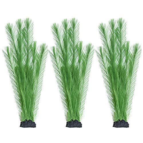 Smarlin Artificial Aquarium Plants, Fake Fish Tank Plants Decor, 3 Pack, Realistic & Non-Toxic & Safe for All Fishes (14 inches, Green)