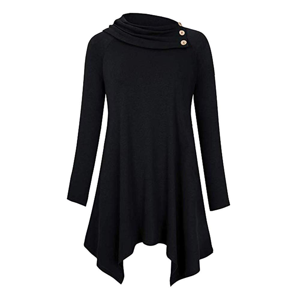 Womens Casual Cowl Neck Top Raglan Long Sleeve Solid Casual Button Pleated Tunic Blouse