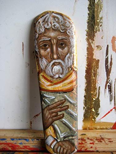 Ethiopian Wood - St Moses the Ethiopian driftwood painting of the desert father OOAK repurposed art