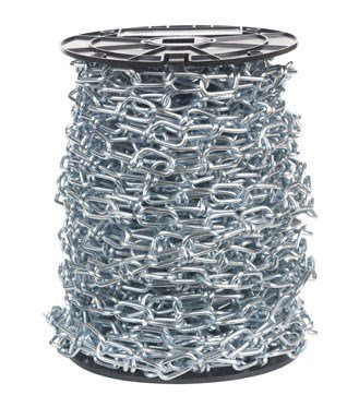 Campbell 0724627 Low Carbon Steel Inco Double Loop Chain on Reel, Zinc Plated, 4/0 Trade, 0.16'' Diameter, 100' Length, 365 lbs Load Capacity