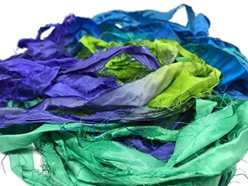 KnitSilk Super Bulky Recycled Sari Silk Ribbon Yarn in Chrysanthemum - 50 Gms - 30 Yards | Duppioni Silk Ribbon | Taffeta Silk Ribbon (Bundle of 1)