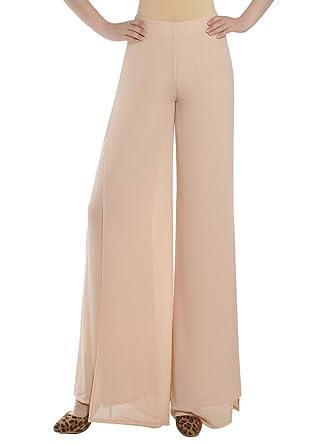 3aa91ee9161 Women Double Layer Split Palazzo Wide Leg Chiffon Loose Pants Beige 32   Amazon.co.uk  Clothing