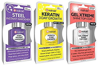 NAIL-AID Hardener + Keratin Growth + Gel Top Coat, Clear, 3 Count