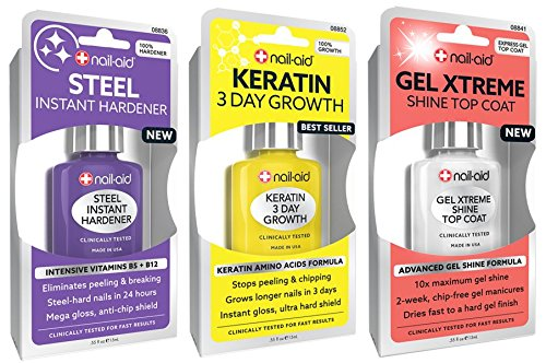 (NAIL-AID Hardener + Keratin Growth + Gel Top Coat, Clear, 3 Count)