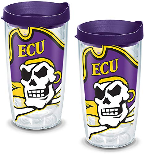 (Tervis 1142785 East Carolina Pirates Mascot Colossal Tumbler with Wrap and Royal Purple Lid 2 Pack 16oz,)
