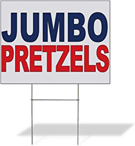 Fastasticdeals Weatherproof Yard Sign Jumbo Pretzels Blue Red Food Bar Restaurant Truck Lawn Garden Bakery 24x18 Inches 2 Sides Print
