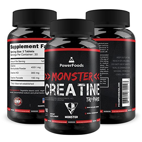 Pure Creatine Tri-Phase ★ Monster Creatine Triphase - x90 tablets (easy to swallow) ★ Monohydrate, HCL and Pyruvate (5000mg Complex) ★ Muscle Performance + Boosts ATP ★ Best Creatine Blend