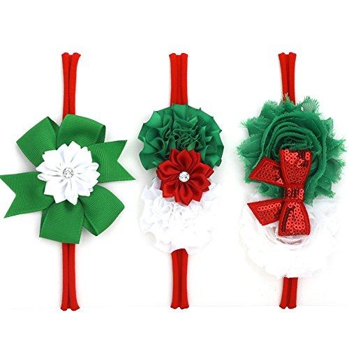 LoveMyAngel Baby Girl Nylon Christmas Headbands / Green Red White Sequin Bowknot - Pack of 3 (Satin flower set)
