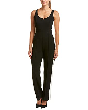 61eb068ab74 Amazon.com  Donna Morgan Women s Sleeveless Jumpsuit with Leg Stripe   Clothing