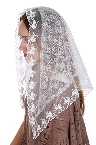 RufNTop Lace Mantilla Catholic Church Chapel Veil Head Covering Spanish Latin Mass (White Flower02 One Size) (White Soap Creed)