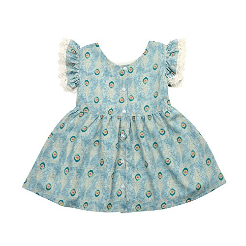 Baby Girl Princess Dress, Cute Girl Lace Flying Sleeve Printed Peacock Feather Dresses for Kids Christening Ceremony Toponly
