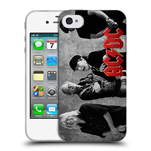Officiel AC/DC ACDC Noir Et Blanc Photo De Groupe Étui Coque en Gel molle pour Apple iPhone 4 / 4S