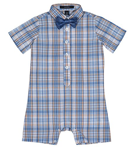 - Nautica Baby Boys Fashion Button Up Shortall with Bowtie, Shell Coral, 24M