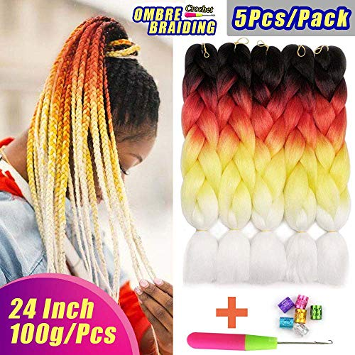 AIDUSA Ombre Colors Braiding Hair Kanekalon 5pcs Synthetic Braids Hair Extensions 24 Inch Three Tone Ombre Braiding Hair Crochet Braids 100g (#57 Ombre Orange)