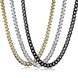 Trendsmax Stainless Steel Link Curb Cuban Chain Necklace for Men Women 3/5/7/9/11mm 3 Colors Optional 1PC