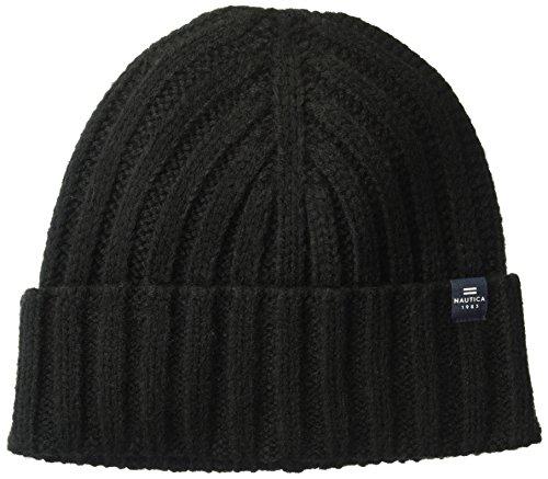 Cuff Hat With Logo Tab, Black, One Size (Logo Knit Cap)