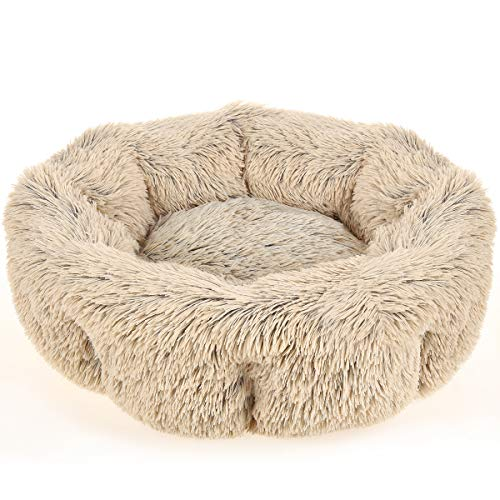 URPOWER Dog Bed, Upgraded Faux Fur Donut Cuddler Round Cushion Pet Bed for Dogs & Cats, Self-Warming and Cozy Pet Beds for Sleep with Removable and Supportable Bottom (30