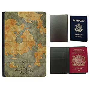 Passeport Voyage Couverture Protector // V00001986 Mapa del tesoro // Universal passport leather cover