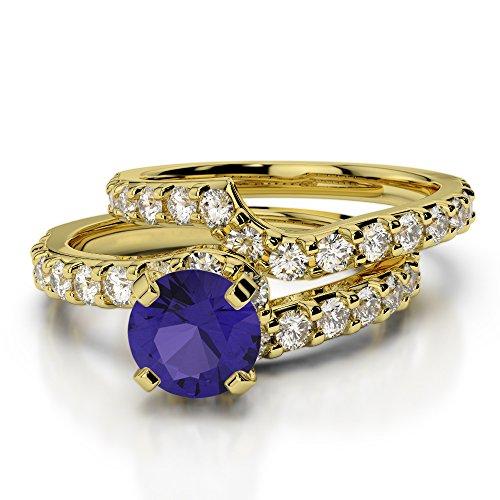 Or jaune 18carats 1CT G-H/VS Certifié Coupe ronde tanzanite et diamants Mariage Bague de fiançailles et ensemble de Agdr-2003