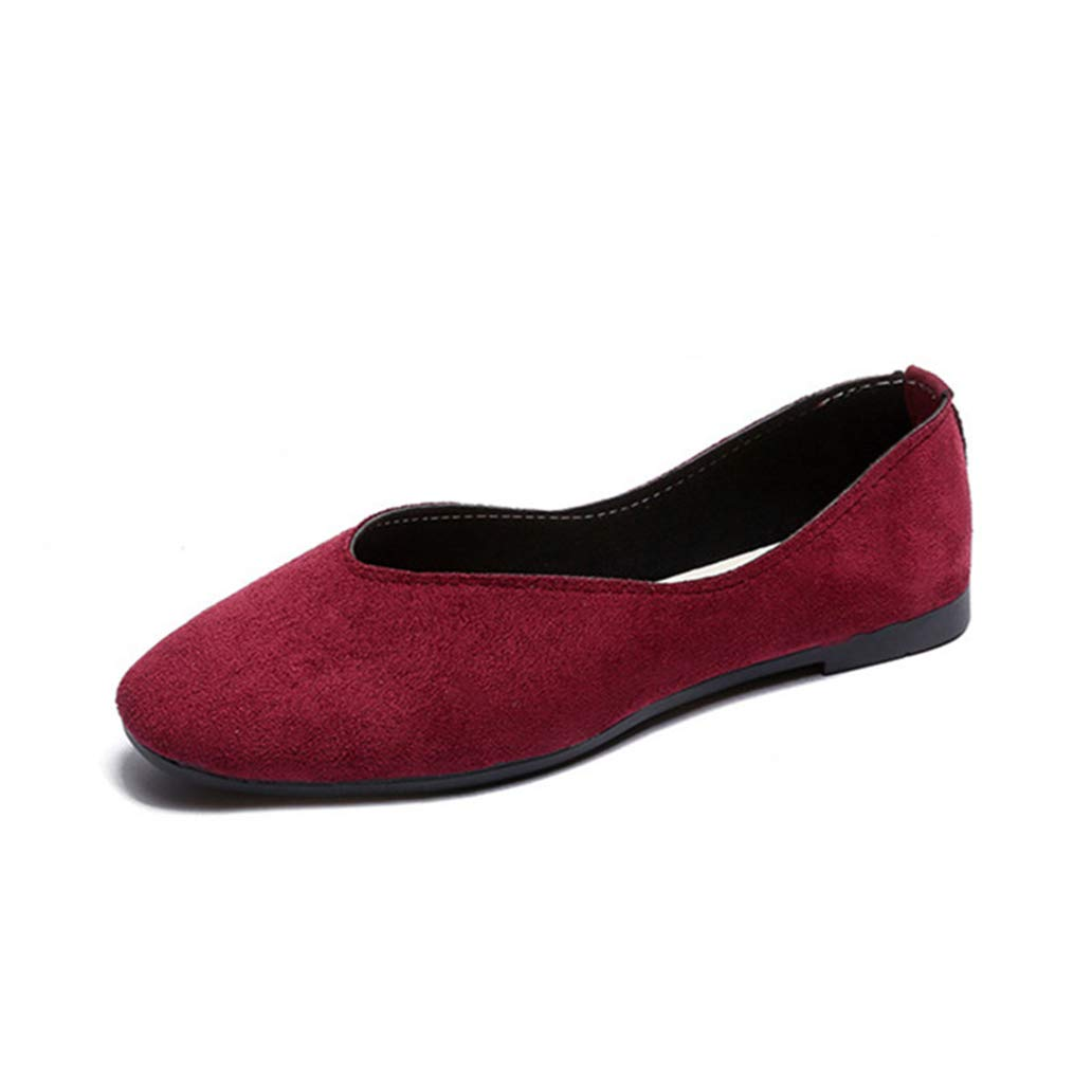 York Zhu Low-Top Women Flats Shoes Big Size Square Toe Loafers Slip-on Flat Casual Shoes