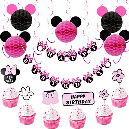 Minnie Mouse Birthday Decorations for Girls with Pink Hanging Swirls, Minnie Ears Honeycomb Balls, Happy Birthday Banner and Cupcake -