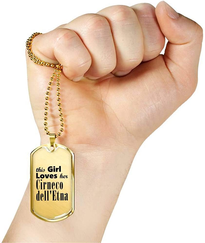Cirneco dellEtna 18k Gold Finished Luxury Dog Tag Necklace Lover Owner Mom Gifts
