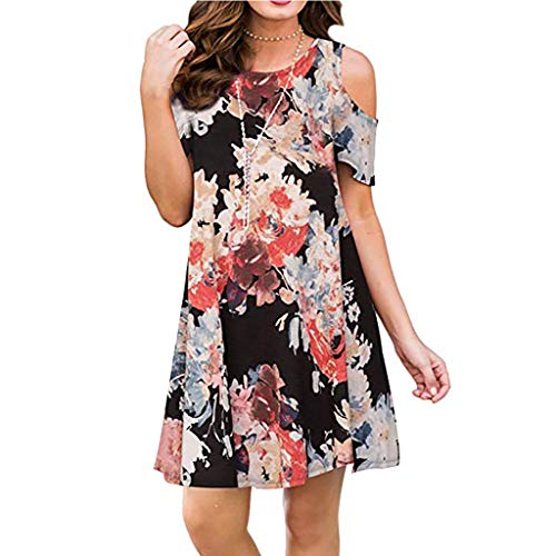 Cold Shoulder Dress,Misyula Women Beach Dresses Plus Size With Pockets Durable Crew Neck Elegant Short Ruffle Sleeve Outfits Casual Comfy Sundresses A Line Knitted Work Wear Navy Flower XXL