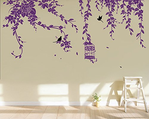 Pop Decors PT-0178-Ve Beautiful Wall Decal, Elegant Leaves/Bird Cage with Flying Birds by Pop Decors