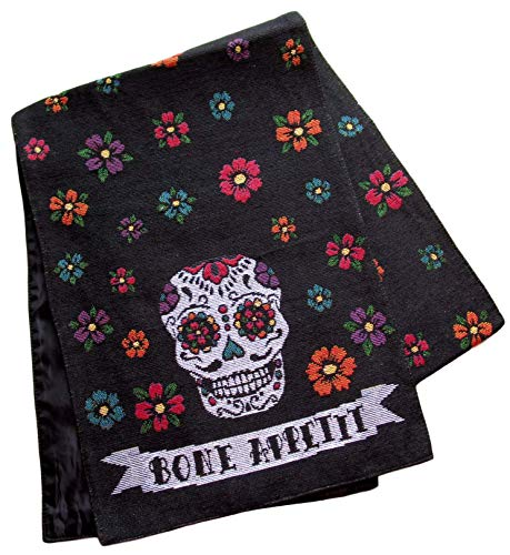 Masquerade Treasures Halloween Woven Tapestry Table Runner - Spooky Gothic Designs (Sugar Skull - Bone Appetit) -