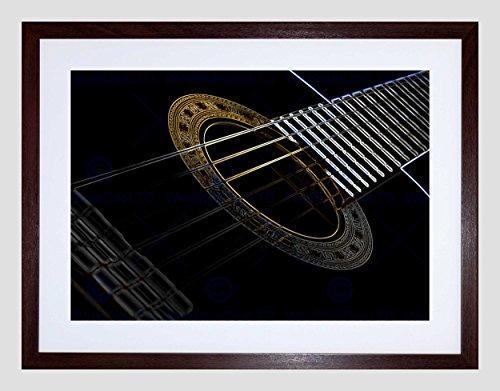 GUITAR NEON STRINGS GLOW INVERSE INSTRUMENT MUSIC FRAMED ART PRINT B12X9247 (Neon-rahmen)