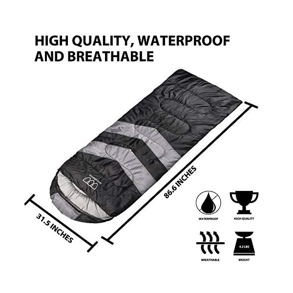 Gold Armour Sleeping Bag for Indoor and Outdoor Use - Great for Kids, Boys, Girls, Teens, Adults. Ultralight and Compact Bags for Sleepover, Backpacking, Camping 4