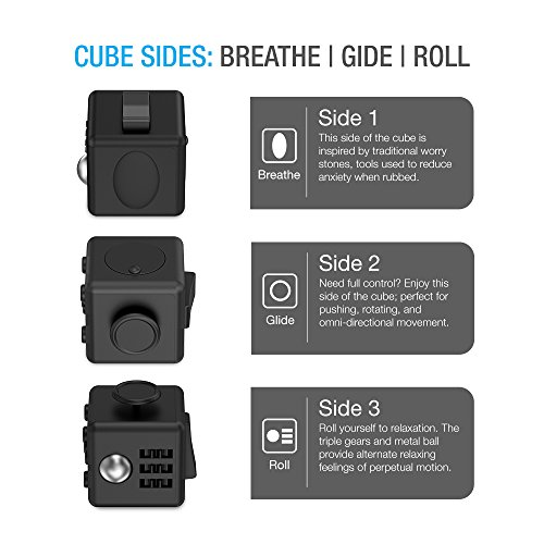 Maxboost Fidget Cube 6 Sides Relieves Stress Ball [2-Pack, Black] Anti-anxiety and Depression Cube Toy for Children, Students, and Adults - Great for Work, Class and Home Easy Carrying (MB000118) -