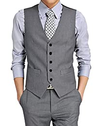 Jueshanzj Mens Suit Vest Five Buttons Casual Wedding Business Sleeveless Waistcoat