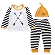 Unisex Outfit Baby Girl Boy Clothes Set Striped Long Sleeve Tops Shirt Pant Hat 9-12M