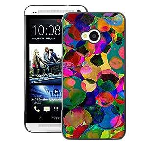 A-type Arte & diseño plástico duro Fundas Cover Cubre Hard Case Cover para HTC One M7 (Watercolor Colorful Abstract Sun Summer)