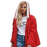 Lelili Women Winter Warm Coat Plus Size Fashion Artificial Wool Long Sleeve Zip Up Hooded Outwear Jacket with Pockets