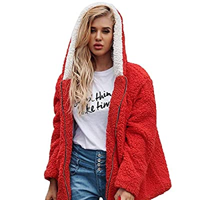 Lelili Women Winter Warm Coat Plus Size Fashion Artificial Wool Long Sleeve Zip Up Hooded Outwear Jacket with Pockets